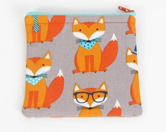 Funny Foxes, credit card case, business card holder, cute coin purse, change purse, womens change purse, credit card wallet, kids coin case