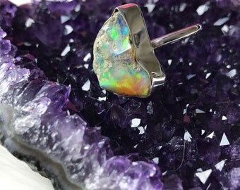 Raw opal ring | Rough opal ring | Chunky opal ring | Birthstone ring | Fire opal ring | Opal in silver ring
