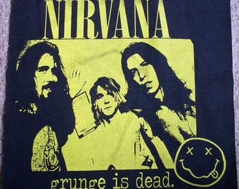 Hand Printed Nirvana Back Patches Band and Lettering Yellow on Black or Grey Grunge