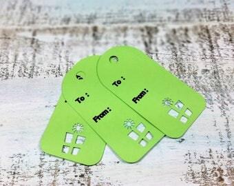 Gift tags, Christmas Gift tags, Holiday gift tag, Present Gift Tag, Green Gift Tag, Set of 10 gift tags, Christmas tag set