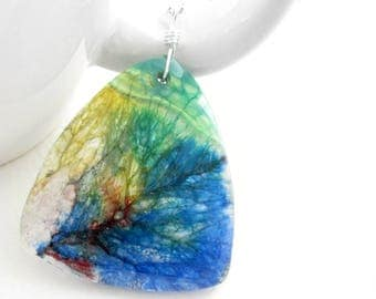 Rainbow Agate Pendant Necklace, Colorful Jewelry, Dragon Vein Agate Stone