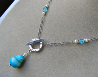 Sterling Silver Aqua Blue Stone and Freshwater Pearl Toggle Necklace