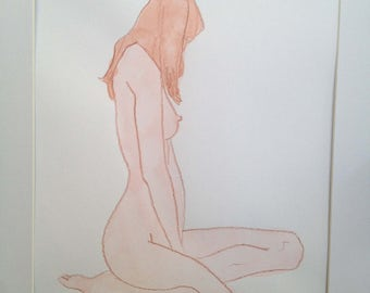 """Original colored pencil and watercolor gesture figure drawing, designed for putting behind an 8""""x10"""" matt within a 14""""x11"""" frame"""