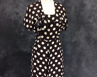 Vintage 1940's polka dot brown with white dress Paul Sachs Small
