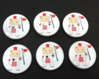 6 Astronaut Buttons.  Space Sewing Buttons.