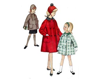 1960s Girls Coat and Hat Pattern Tent Coat Peter Pan Collar Matching Bonnet Raglan Sleeves Simplicity 5147 Size 7 Vintage Sewing Pattern