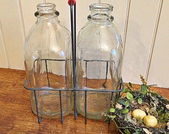 Vintage Wire Milk bottle carrier holder rack with two half gallon bottles