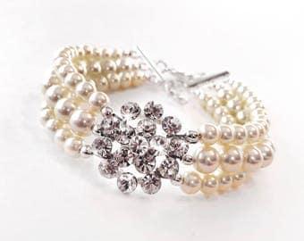 Bracelet - Pearl Bridal Cuff Bracelet - Wedding Bracelet - Ivory or White Pearls - Wide Pearl Bracelet - Vintage Style Brooch Bracelet