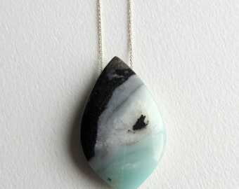 Amazonite Necklace with Sterling Silver Black and Blue Natural Smooth Stone Statement Necklace Pretty Jewelry Gift for Her Made in Seattle