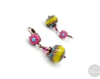 Dangle earrings hot pink, lime green, boho earrings fandango pink, boho earrings tender shoots