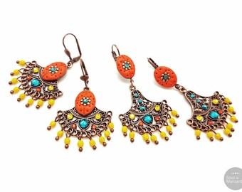 Orange Boho dangle earrings, handsculpted polymer clay, glass beads, copper plated, boheme earrings, colorful earrings