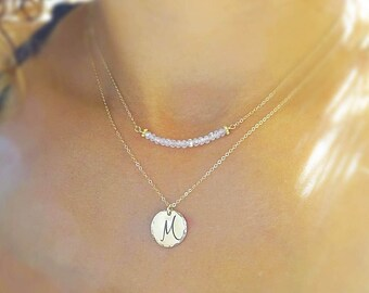 Minimal layering necklace, gemstone bar necklace, birthstone necklace, simple bar necklace, layering jewelry, bridesmaid gift, layer jewelry