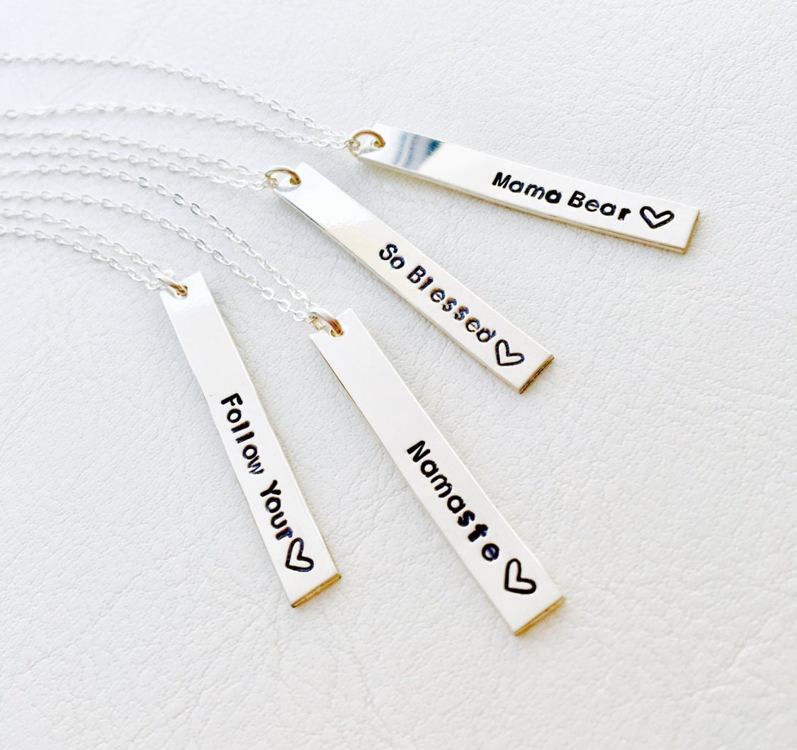 Custom text vertical bar necklace, sterling silver, Namaste, layering, Otis B, Handmade, mantra, phrase, personalized message necklace