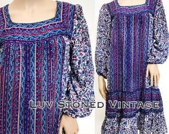 Vintage 70s Indus Pakistan Tent Cotton Sheer Boho Hippie Gypsy Indian India Ethnic Festival Mini Dress . M/L . D050 . 1249.1.30.17