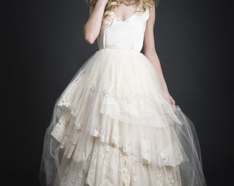 Gaia, Refurbished doily and Chantilly lace Wedding Dress, Tulle
