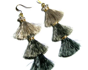 Tiered Tassel Earrings, Grey Ombre Earrings, Long Dangle Earrings, Gray Earrings, Ombre Jewellery, 3 Tiered Tassel Earrings, Tassel Earrings
