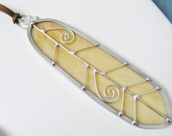 Amber Stained Glass Feather Suncatcher Southwestern Decor Leaded Glass Suncatcher Handmade Gifts