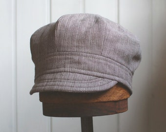 Daria S: Modified newsie in brown plaid, lightweight beach style baseball cap for men, women or kids, upcycled summer hat