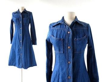 Vintage Denim Dress | Canyonlands | 1970s Dress | XS