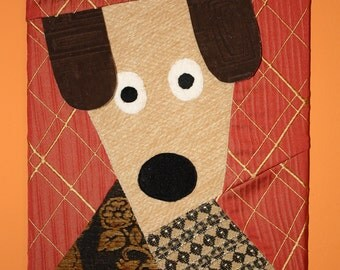 Friendly Dog Patchwork Wall Hanging - 11x14 Canvas
