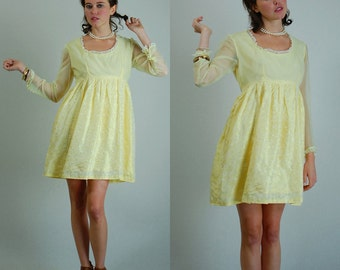 Baby Doll Mini Dress Vintage 60s Buttercup Yellow Brocade Baby Doll Mini Dress (s m)