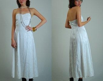 White Dress / Vintage Dress / Wedding Dress / Prom Dress / Formal Dress / Strapless Dress / Summer Wedding / Brocade Dress / X Small