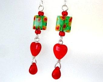 Bleeding Hearts Earrings, Silver Earrings, Extra Long Dangles, Red Teardrop, Green Millefiori Glass Beads, Romantic Valentine Gift for Her,