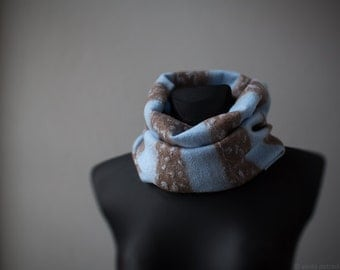 Blue scarf Merino wool infinity scarf with greyish brown Felted shawl Woolen cowl for women and men Striped neck warmer loop snood