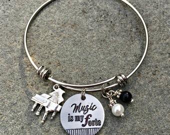 Music Bangle Bracelet, Piano Bracelet, Music Teacher Gift, Piano Teacher Gift, Music Lovers Jewelry, Musician Bracelet, Musician Bracelet