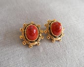 Vintage Christian Dior / Germany, Red Glass Cabochon Clip Earrings, dated 1970