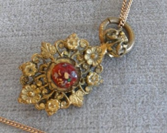 Antique Pendant with Ornate Gilt Flowers, Painted Glass Cabochon, Cobalt Blue & Red