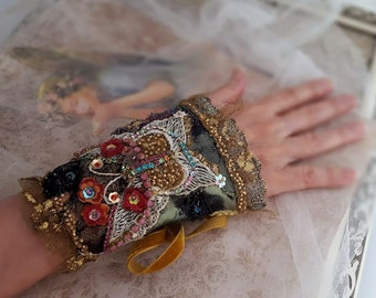 Fantasy butterfly cuff, Victorian bracelet, vintage Swarovski bead embroidered Bohemian jewelry, Marie Antoinette inspired fabric bracelet