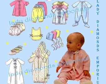 Simplicity 9380 Babys Layette Sleepers Tops Pants Booties Bibs Hat Bonnet Panties Gowns size NB S M L Vintage Sewing Pattern Uncut FF