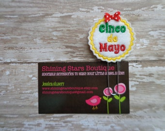 Paper Clips - White Scalloped Circle With Red, Yellow, And Green Felt Paper Clip Or Bookmark Accessory - Cinco de Mayo Holiday Paperclip