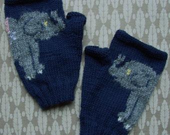 Baby Elephant fingerless gloves/mitts - hand knit in dark navy 4ply merino wool