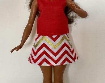 Handmade Curvy Barbie Clothes Red Tank like Top Chevron A-line Skirt Designs by P D Reneau (Q720)