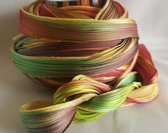 1/2 yd Shibori Ribbon Hand Dyed Silk Ribbon Wild Flower Shibori Girl