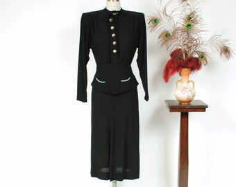 Vintage 1940s Dress - Incredible Fred A. Block Designer 40s Peplum Dress with Seafoam Green Decorative Buttons and Pockets