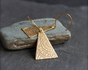 Gold Tribal Triangle Earrings - Etched Brass, Geometric Earrings, Textured Dangle, Gold Brass, Boho Jewellery