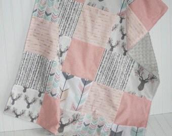 elk baby blanket- fawn baby blanket-patchwork minky baby blanket-arrow baby blanket- pink baby blanket- baby girl blanket- baby bedding
