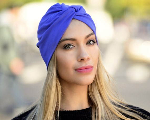 Turban Hat Women's Royal Blue Retro Accessory Cobalt Periwinkle Hair Snood Head Covering Stretch Chemo Hat Beach Coverup Hair Coverup