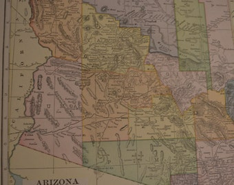 1919 State Map Arizona - Vintage Antique Map Great for Framing