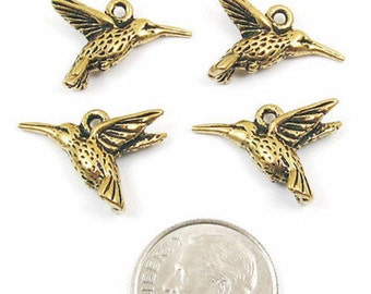 TierraCast Pewter Charms-Antique Gold HUMMINGBIRD (4)