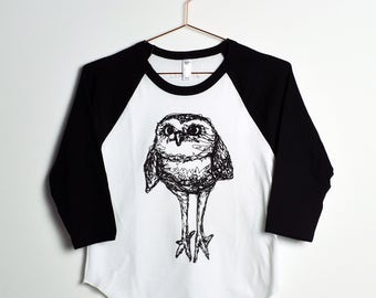 Burrowing Owl Raglan Tee- Black & White