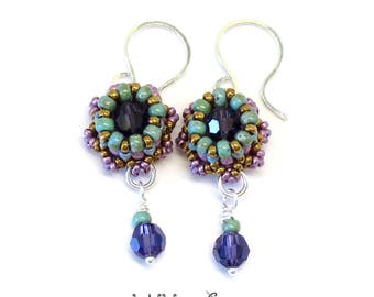 Mini Crown Beaded Earrings Sterling Silver Wire Purple Bronze Green