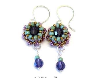 Mini Crown Beaded Earrings Sterling Silver Wire Purple Bronze Green
