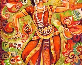 Indian classical dance painting, Bharatanatyam, Goddess dancer, Indian woman dancer, Indian decor, poster woman wall print 8x11+