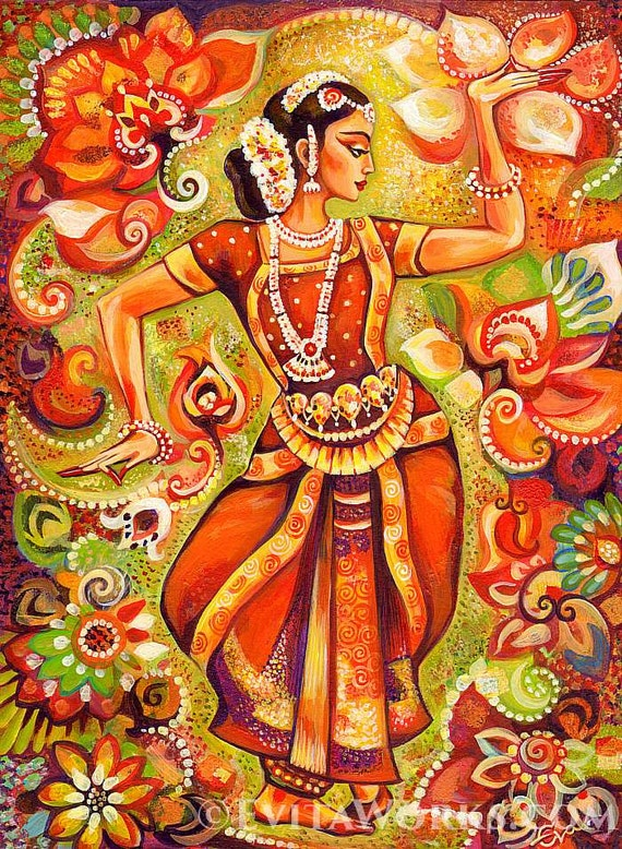 Indian classical dance painting bharatanatyam goddess Home decor paintings for sale india