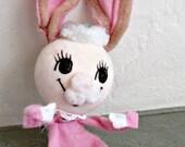 Vintage Rabbit, Poseable Bunny, Vintage Bunny Rabbit, Easter Rabbit, Pink Felt Rabbit, Rabbit in Dress, Girl Bunny Rabbit Figure, Wire Felt