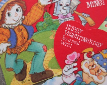 Vintage Valentines, Kids' Valentines, Wizard of Oz Valentine, St. Valentine Day, 1970s Vintage Valentines, Scarecrow Valentine Tinman Wizard